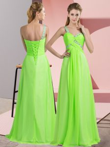 Low Price Floor Length Prom Gown Chiffon Sleeveless Beading