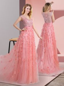 Fantastic Pink Zipper Dress for Prom Beading and Appliques Sleeveless Sweep Train