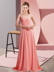 Edgy Watermelon Red Evening Dress Prom and Party with Ruching Spaghetti Straps Sleeveless Sweep Train Backless