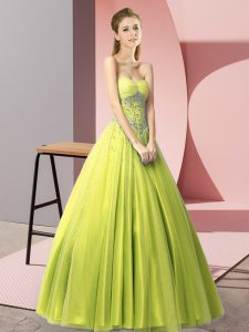 Fashion Sleeveless Tulle Floor Length Lace Up Homecoming Dress in Yellow Green with Beading
