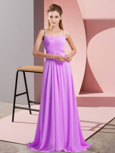 Backless Prom Party Dress Lilac for Prom and Party with Ruching Sweep Train