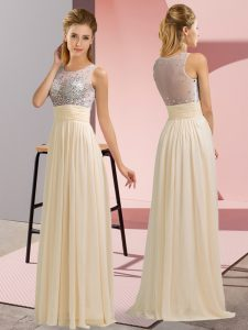 Comfortable Floor Length Empire Sleeveless Champagne Prom Party Dress Side Zipper