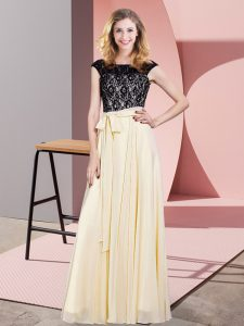 Admirable Champagne Sleeveless Chiffon Lace Up Dress for Prom for Prom and Party
