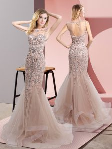 Customized Champagne Tulle Zipper Prom Party Dress Sleeveless Sweep Train Beading and Ruffles