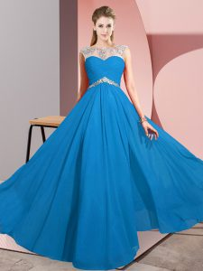 Ideal Floor Length Blue Scoop Sleeveless Clasp Handle