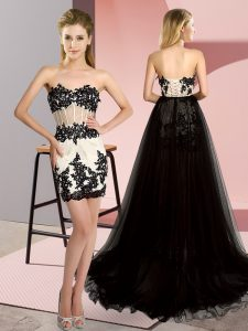 Suitable White And Black Prom and Party with Embroidery Sweetheart Sleeveless Sweep Train Lace Up