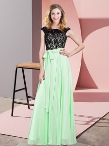 Affordable Scoop Sleeveless Chiffon Dress for Prom Lace and Belt Lace Up