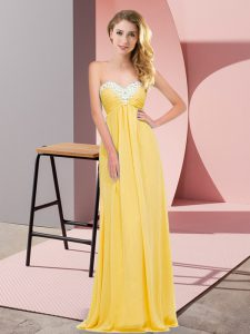 Graceful Sweetheart Sleeveless Lace Up Dress for Prom Gold Chiffon