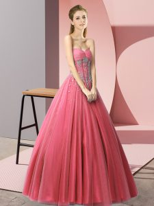 Simple Sleeveless Lace Up Floor Length Beading Prom Gown
