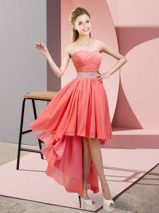 High Low Watermelon Red Prom Dresses Sweetheart Sleeveless Lace Up