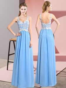 Aqua Blue V-neck Zipper Lace Prom Dresses Sleeveless