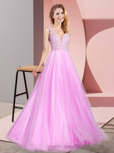 Hot Sale Lilac Zipper V-neck Lace Homecoming Dress Tulle Sleeveless