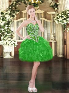 Exceptional Green Ball Gowns Sweetheart Sleeveless Organza Mini Length Lace Up Beading and Ruffles Prom Dress