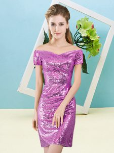 Fancy Short Sleeves Sequined Mini Length Zipper Evening Dress in Lilac with Sequins