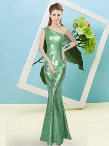 Sleeveless Sequined Floor Length Zipper in Turquoise with Sequins