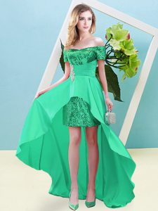 Nice High Low Turquoise Prom Dress Off The Shoulder Short Sleeves Lace Up