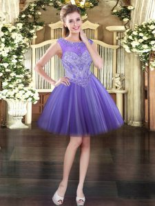 Lavender Scoop Lace Up Beading Homecoming Dress Sleeveless