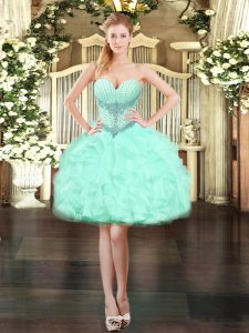 Sleeveless Beading and Ruffles Lace Up Dress for Prom