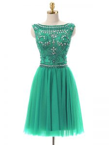 Cute Tulle Bateau Sleeveless Zipper Beading Dress for Prom in Turquoise