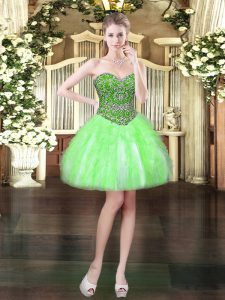 Comfortable Sleeveless Beading and Ruffles Lace Up Dress for Prom