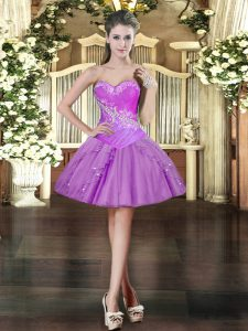 Sumptuous Lavender Homecoming Dress Prom and Party with Beading and Ruffles Sweetheart Sleeveless Lace Up
