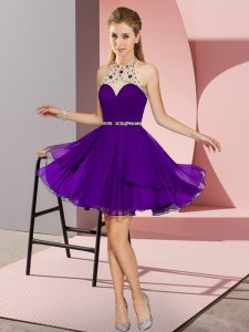 Most Popular Purple Halter Top Neckline Beading Prom Dresses Sleeveless Zipper