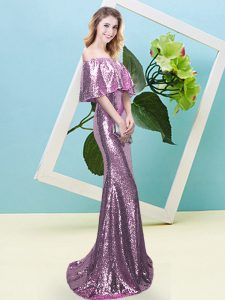 Lilac Half Sleeves Sequined Zipper Prom Dresses for Prom and Party