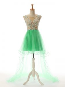 Scoop Sleeveless Prom Gown High Low Appliques Turquoise Tulle