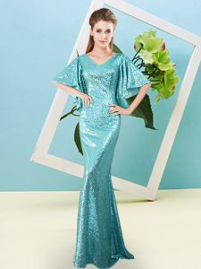 V-neck Half Sleeves Homecoming Dress Floor Length Sequins Aqua Blue Sequined