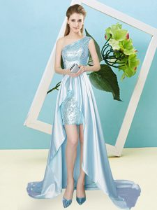 Traditional High Low Light Blue Prom Dresses Elastic Woven Satin and Sequined Sleeveless Sequins