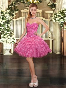 Rose Pink Ball Gowns Sweetheart Sleeveless Organza Mini Length Lace Up Beading and Ruffled Layers and Pick Ups Dress for Prom