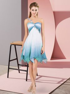 Dazzling One Shoulder Sleeveless Fading Color Prom Dresses Beading Lace Up