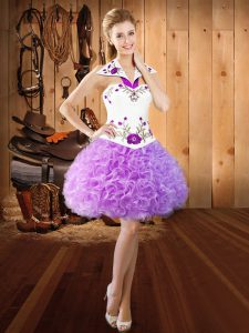 Great Lilac Lace Up Halter Top Embroidery Prom Party Dress Fabric With Rolling Flowers Sleeveless