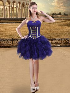 Adorable Purple Ball Gowns Organza Sweetheart Sleeveless Ruffles Mini Length Lace Up Prom Dress
