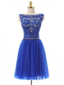 Mini Length Royal Blue Tulle Sleeveless Beading