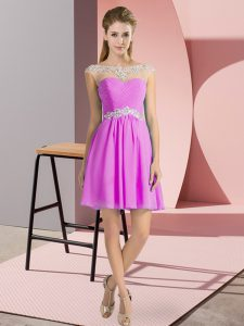Cap Sleeves Mini Length Beading Lace Up Prom Evening Gown with Lilac