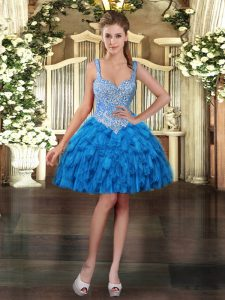 Graceful Blue Organza Lace Up Sleeveless Mini Length Beading and Ruffles