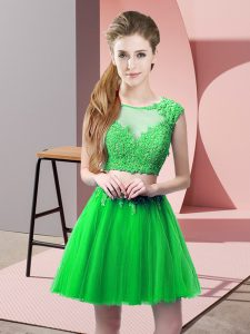 Green Scoop Neckline Appliques Prom Evening Gown Sleeveless Zipper
