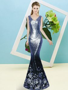 Flirting Mermaid Celebrity Dresses Blue V-neck Sequined Sleeveless Floor Length Zipper