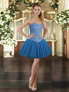 Sweet Mini Length Ball Gowns Sleeveless Blue Prom Gown Lace Up