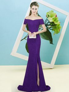Fine Sequined Off The Shoulder Short Sleeves Sweep Train Zipper Sequins Celebrity Evening Dresses in Purple