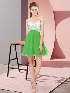 Beading Prom Gown Green Criss Cross Sleeveless Mini Length