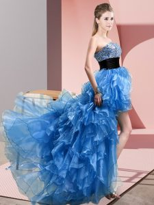 Baby Blue Lace Up Sweetheart Beading and Ruffles Celebrity Dress Organza Sleeveless