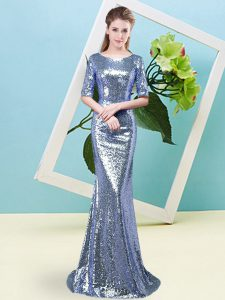 Blue Prom Evening Gown Prom and Party with Sequins Scoop Half Sleeves Zipper