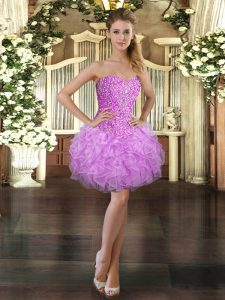 Decent Sleeveless Mini Length Beading and Ruffles Lace Up Evening Dress with Lilac