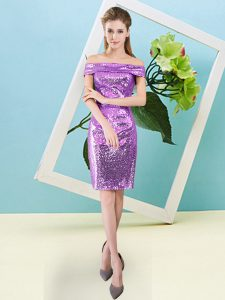 Free and Easy Lilac Sequined Zipper Off The Shoulder Short Sleeves Mini Length Prom Party Dress Sequins