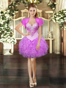 Ball Gowns Lilac Sweetheart Organza Sleeveless Mini Length Lace Up
