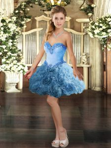 Baby Blue Sleeveless Beading Mini Length Prom Gown
