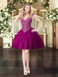 Sumptuous Fuchsia Tulle Lace Up V-neck Sleeveless Mini Length Prom Dress Beading