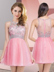 Scoop Sleeveless Prom Dress Mini Length Beading Rose Pink Tulle